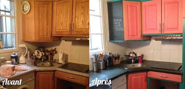 DIY_relooker-sa-cuisine-pas-cher_plan-de-travail_placards_couleurs_avant_apres