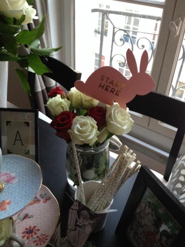 Deco wonderland_bocal miss étoile roses aux joues_bouquet fleur_pailles liberty