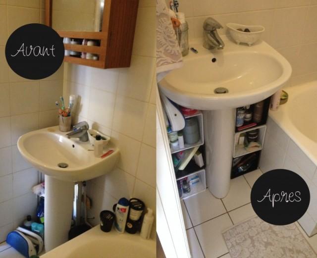 avant après_rangement salle de bain_utiliser des paniers tressés en les empilant à la place d'un meuble a lavabo sous l'evier_ optimiser les rangements dans la salle de bain_solution de rangement économique