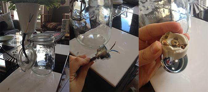 Diy lampe bocal confiture chez vivianne for Lampe pot de confiture