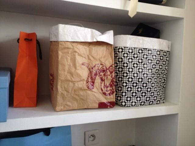 sac papier_big brown bag_panier de rangement_kraft_geometrique