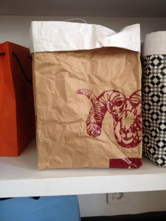 sac rangmenet kraft le sac en papier style postal imprimé tampon rouge