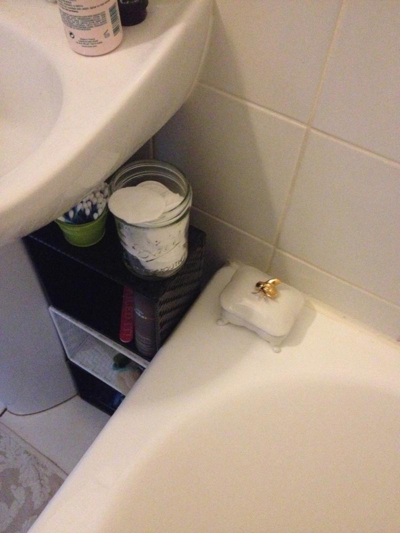 porte savon zara home bord de salle de bain_décoratif déco salle de bain_bord baignoire_ceramique or et blanc_motif couvercle abeille dorée_porte savon forme baignoire baroque_féminin romantique élégant